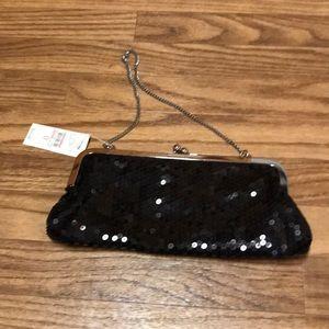 NWT Ann Taylor Loft Sequined Black Clutch Bag